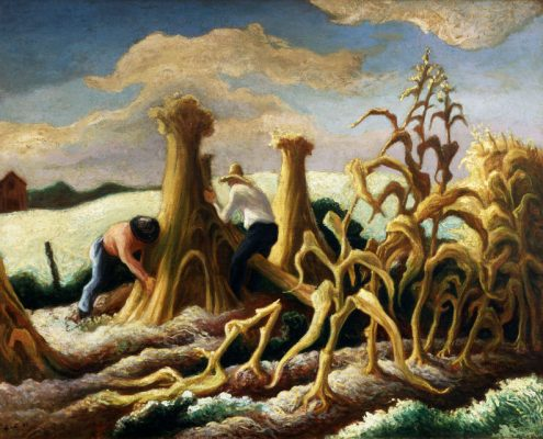 "Thomas Hart Benton, ""Shocking Corn,"" 1945."
