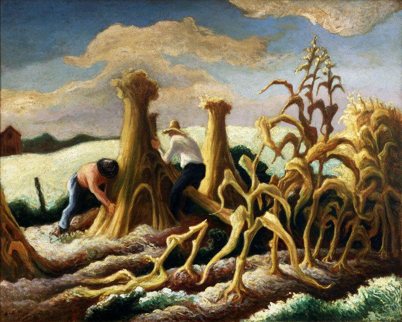 """Thomas Hart Benton, """"Shocking Corn,"""" 1945."""