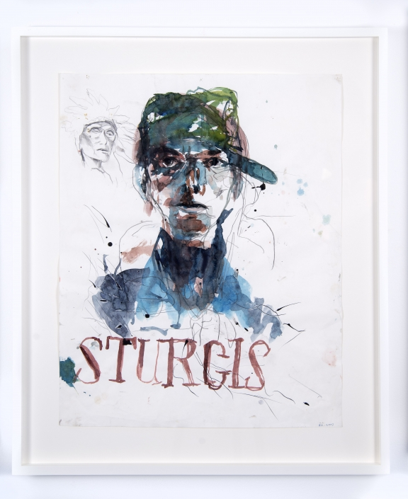 """Brad Kahlhamer, """"Sturgis,"""" 2007. Watercolor on paper, 20 x 16 inches. Courtesy of the artist and Jack Shainman Gallery, New York."""
