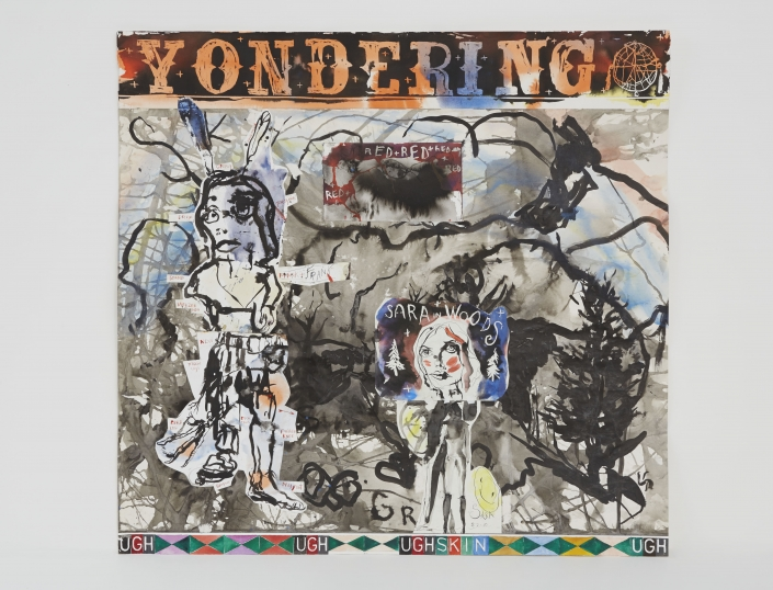 """Brad Kahlhamer, """"Yondering,"""" 2011. Painted collage on paper, 43 x 44 1/2 inches. Courtesy of the artist and Jack Shainman Gallery."""