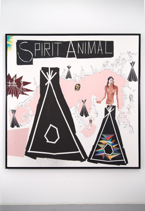 """Brad Kahlhamer, """"Spirit Animal,"""" 2014. Acrylic on canvas, 74 x 74 inches. Courtesy of the artist and Jack Shainman Gallery."""